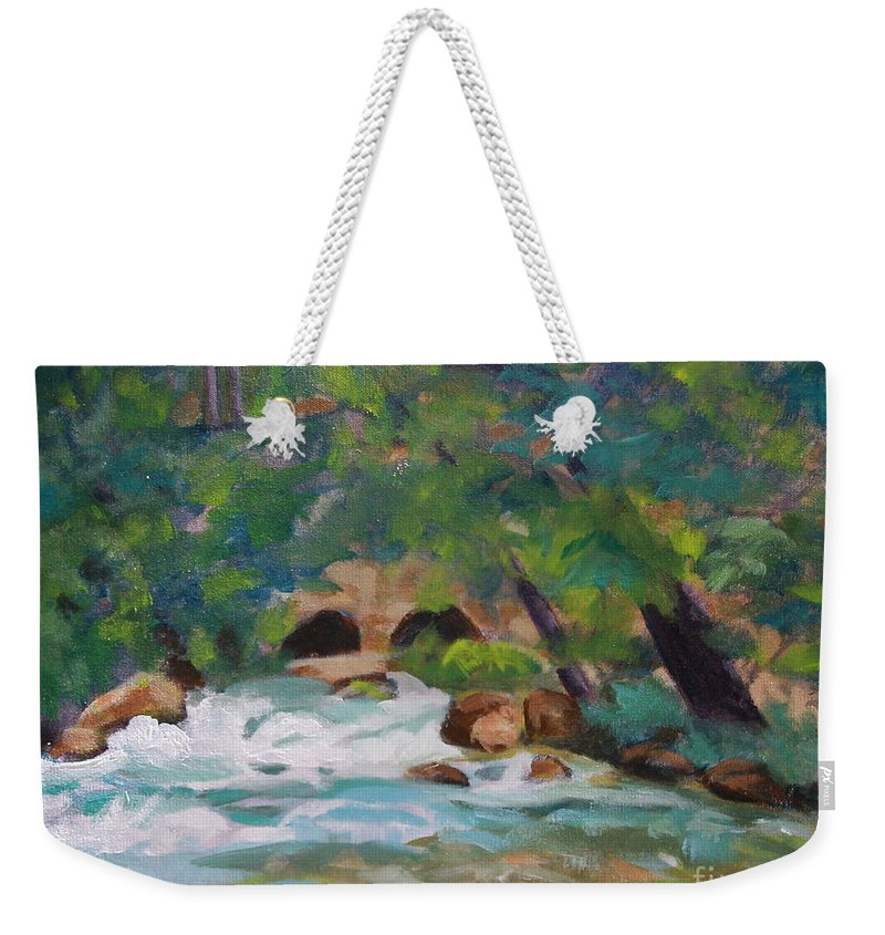 Impressionistic Weekender Tote Bag featuring the painting Big Spring On The Current River by Jan Bennicoff