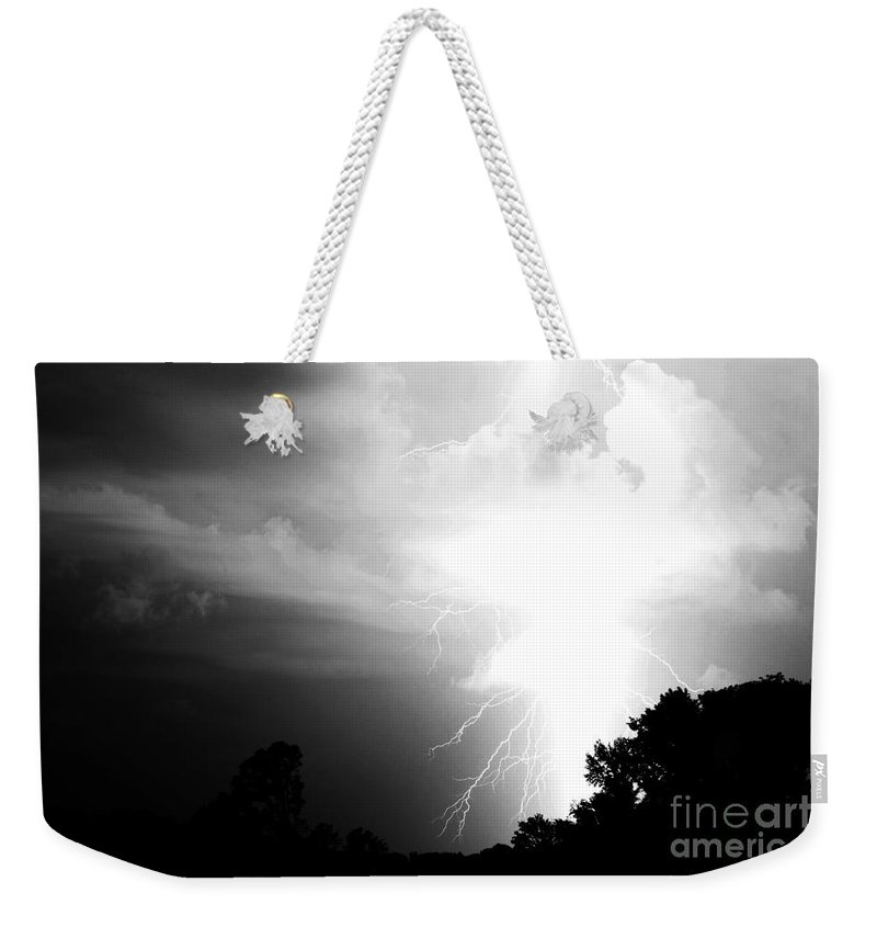Lightning Weekender Tote Bag featuring the photograph Big Strike by Amanda Barcon