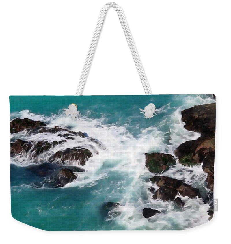 Big Sur Weekender Tote Bag featuring the photograph Big Sur Foam by Art Block Collections