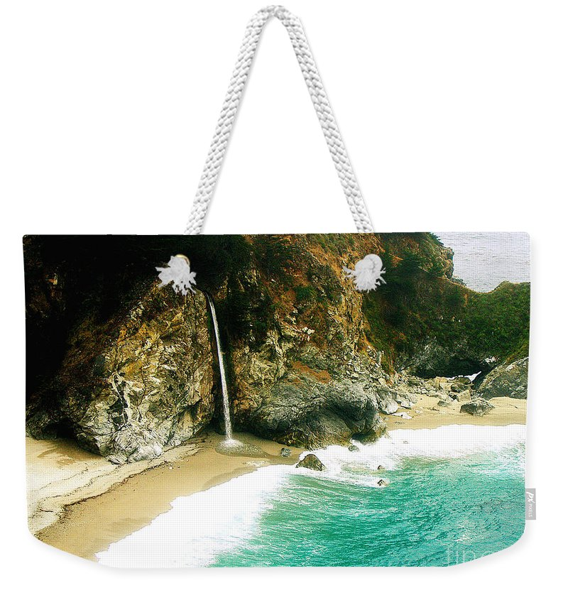 Big Sur Weekender Tote Bag featuring the photograph Big Sur Waterfall by Jerome Stumphauzer