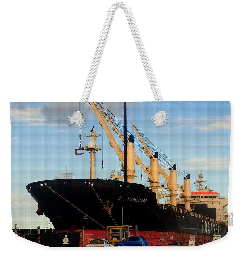 Oil Tanker Weekender Tote Bag featuring the photograph Big Tanker In The Harbor by Susanne Van Hulst