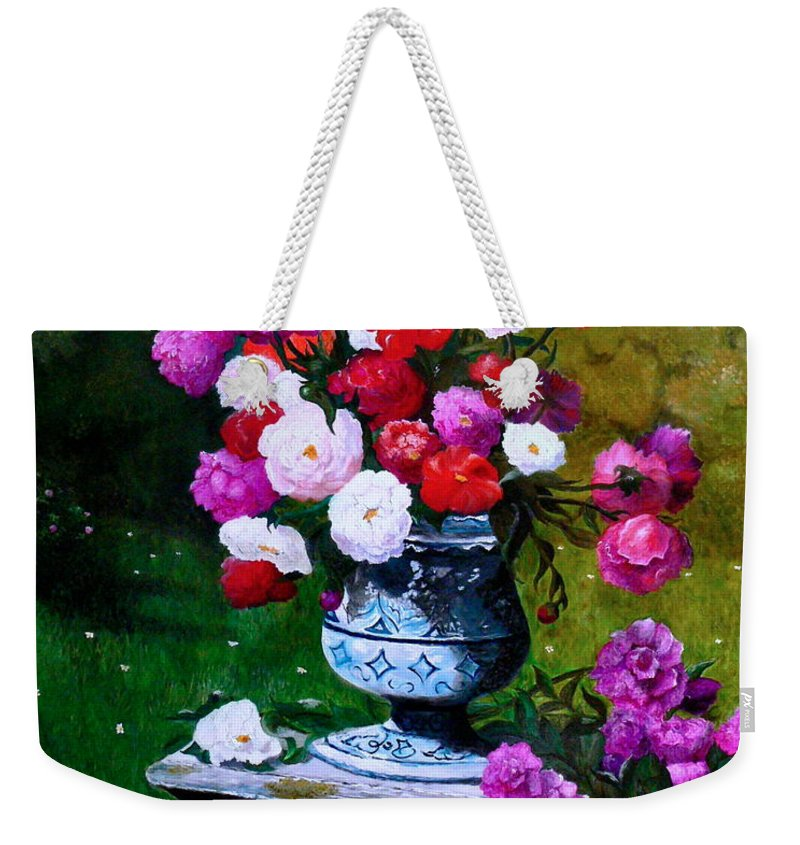 Stilllife Weekender Tote Bag featuring the painting Big Vase With Peonies by Helmut Rottler