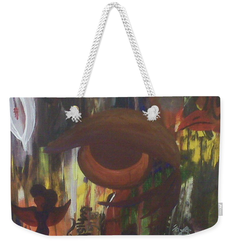 Abstract Weekender Tote Bag featuring the painting Big Whiskey by Laurette Escobar