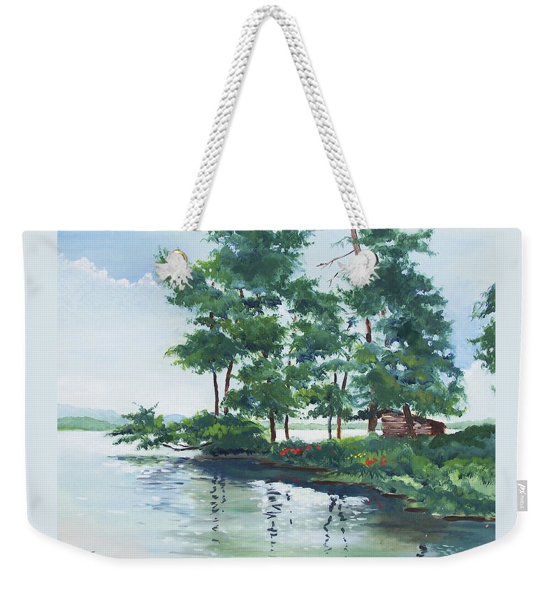 Landscape Weekender Tote Bag featuring the painting Big Wolf Lake by John Crowther