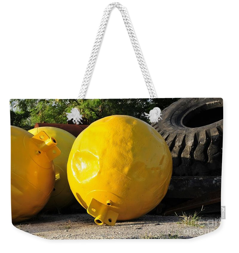 Yellow Weekender Tote Bag featuring the photograph Big Yellow Balls by David Lee Thompson