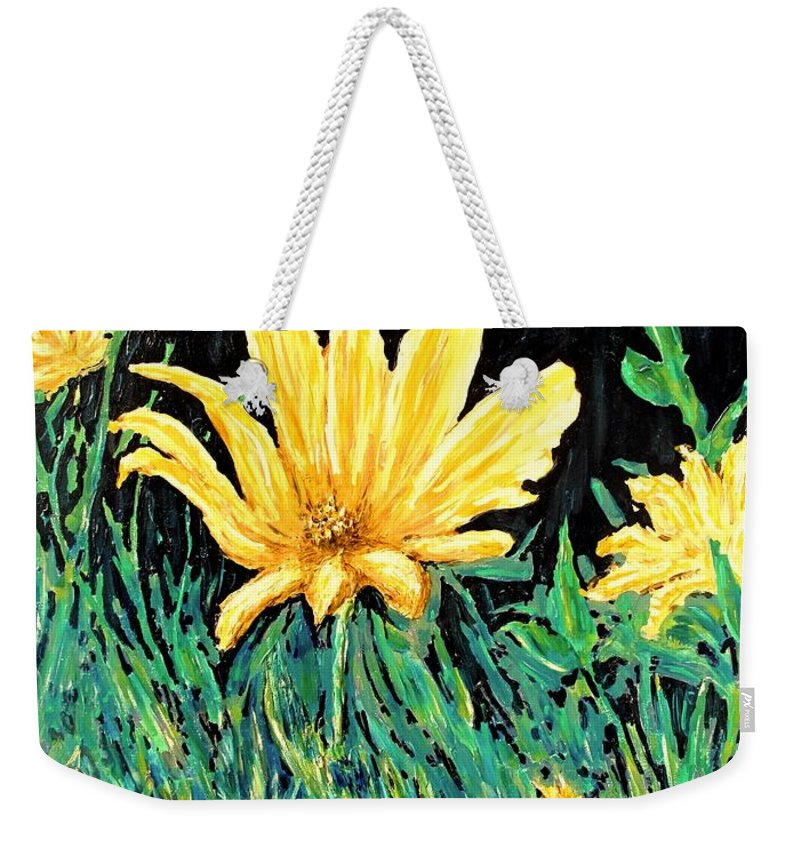 Flower Weekender Tote Bag featuring the painting Big Yellow by Ian MacDonald