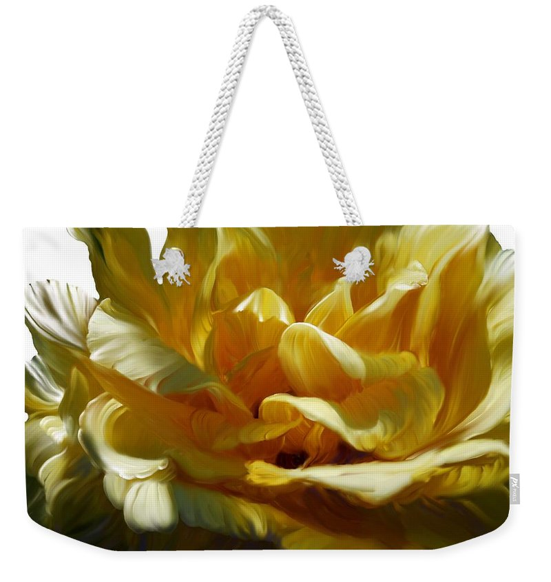 Rose Weekender Tote Bag featuring the photograph Big Yellow Rose by Sherrie Triest
