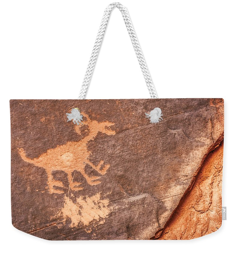 Petroglyph Weekender Tote Bag featuring the photograph Bighorn Petroglyph by Susan Candelario