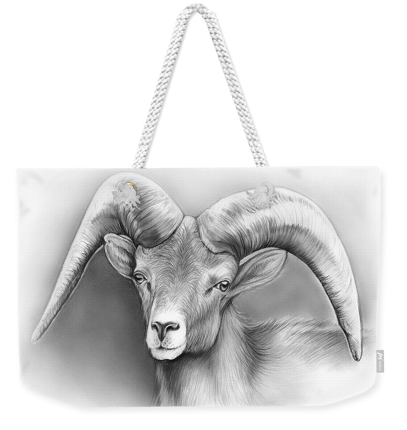 Bighorn Weekender Tote Bag featuring the drawing Bighorn Ram by Greg Joens