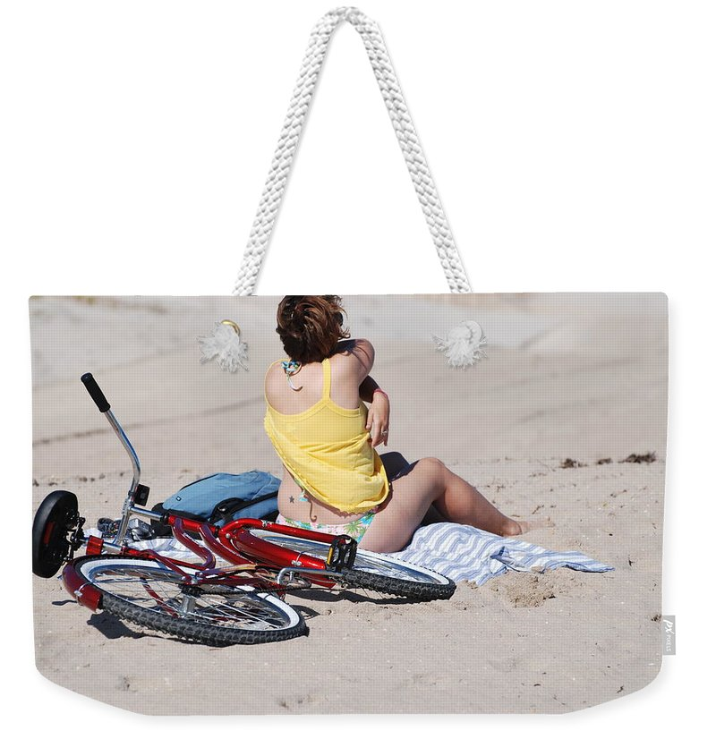 Red Weekender Tote Bag featuring the photograph Bike On The Beach by Rob Hans