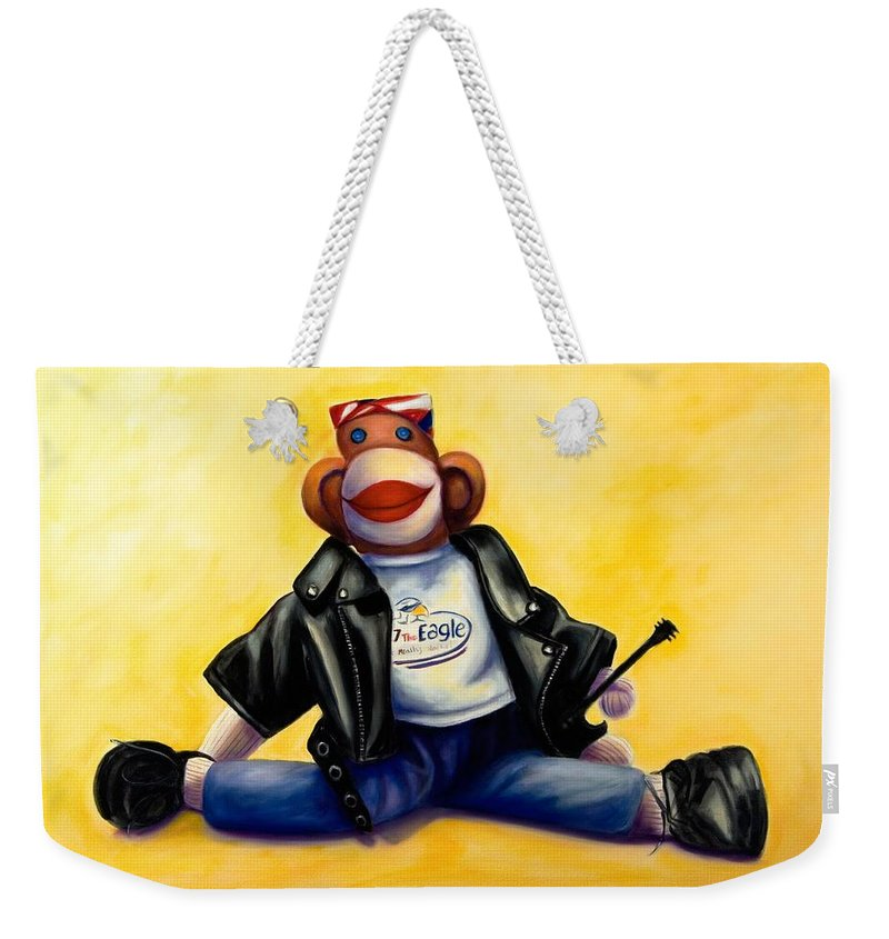 Sock Monkey Brown Weekender Tote Bag featuring the painting Biker Dude Made Of Sockies by Shannon Grissom
