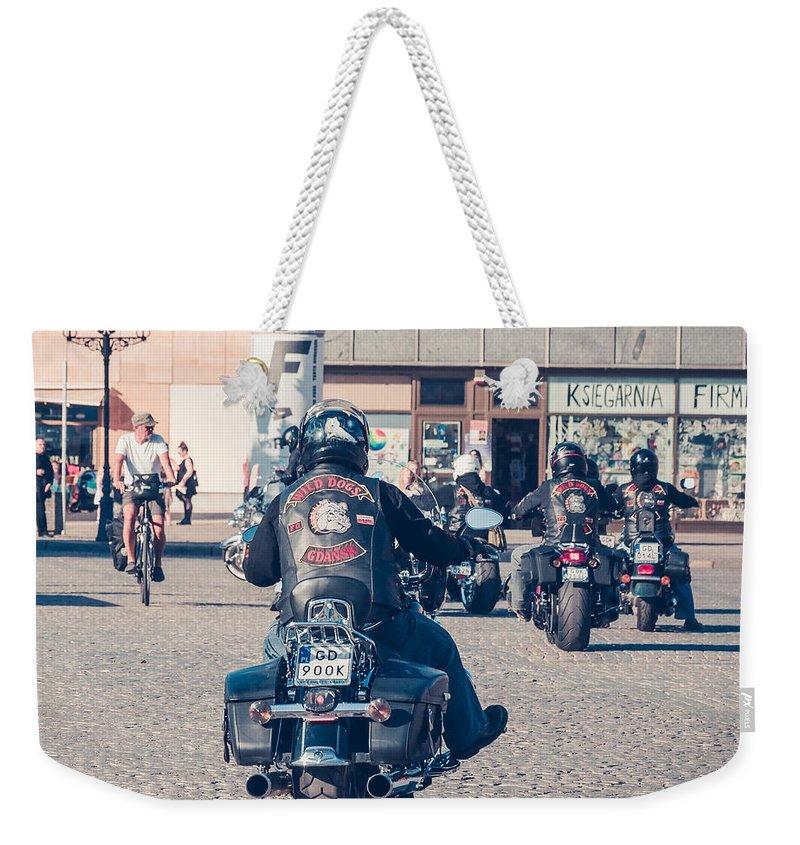 City Weekender Tote Bag featuring the photograph Bikers In Gdansk by Mariusz Talarek