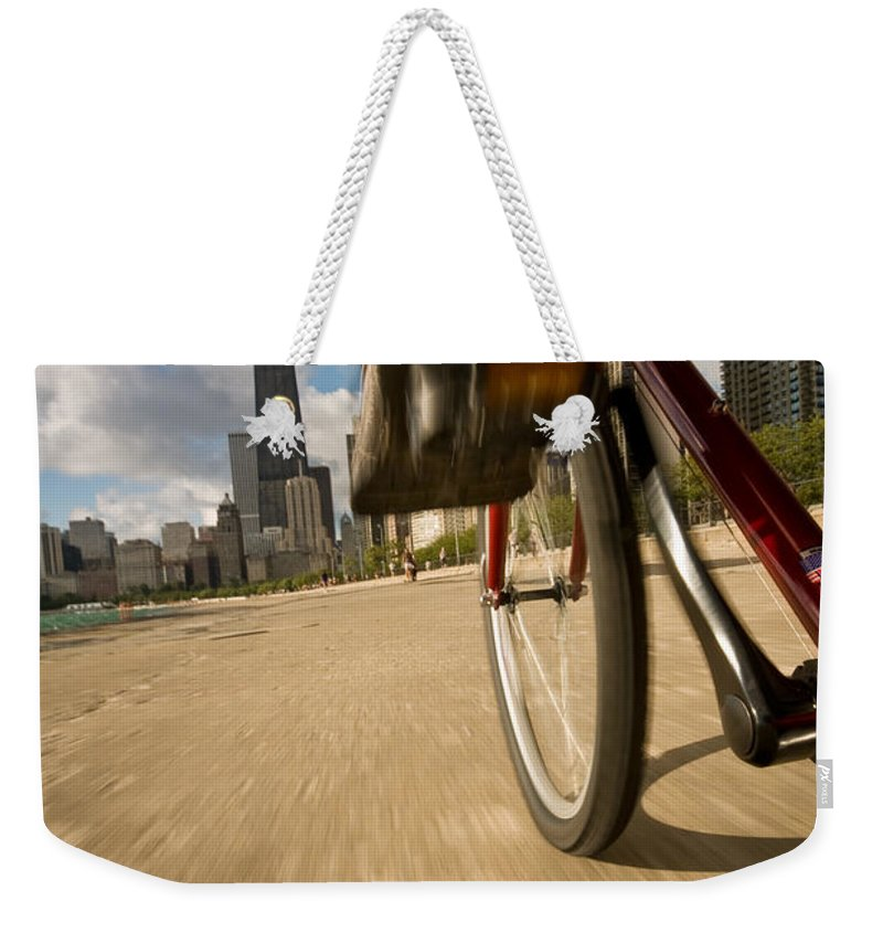 Active Weekender Tote Bag featuring the photograph Biking Chicagos Lakefront by Steve Gadomski