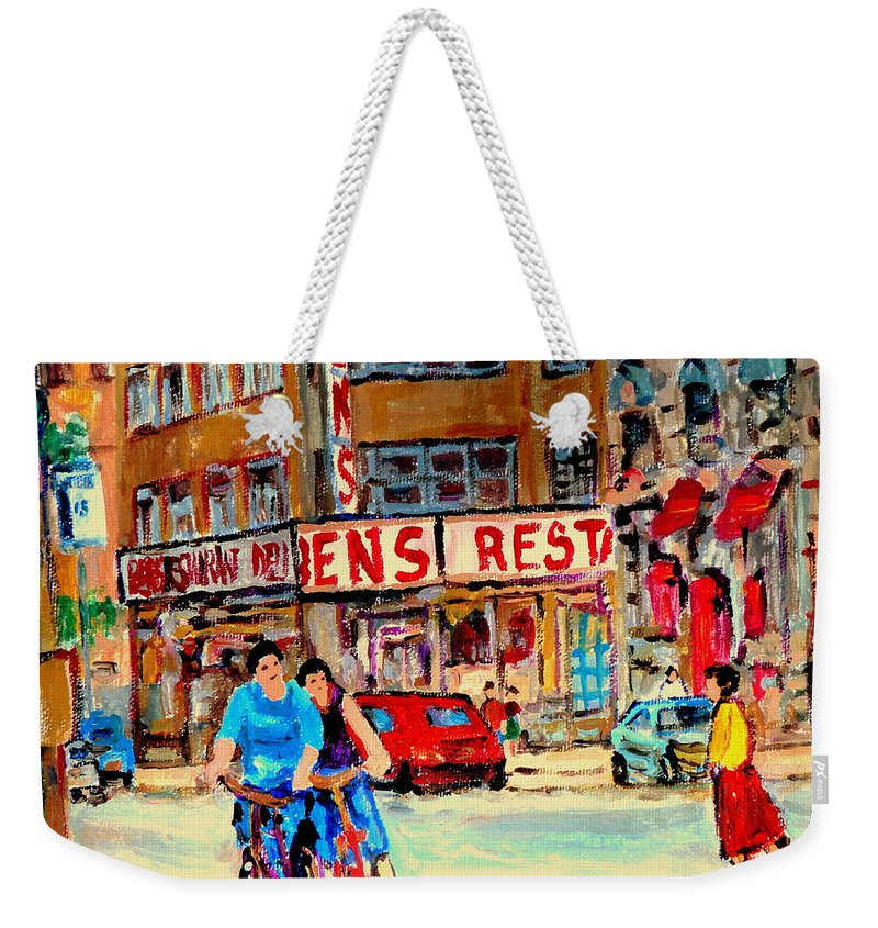 Montreal Weekender Tote Bag featuring the painting Biking Past Ben by Carole Spandau