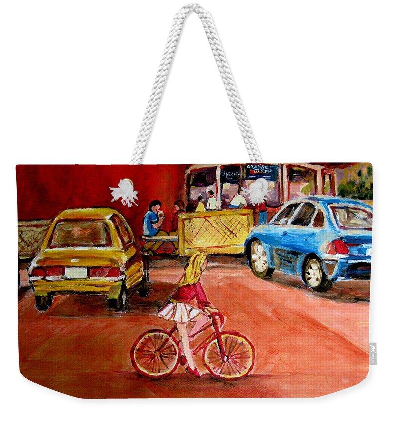 Orange Julep Weekender Tote Bag featuring the painting Biking To The Orange Julep by Carole Spandau
