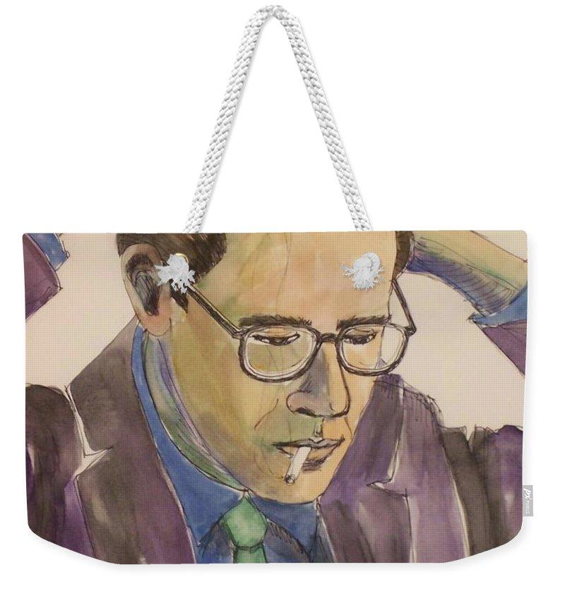 Bill Evans Weekender Tote Bag featuring the mixed media Bill Evans by Anita Burgermeister