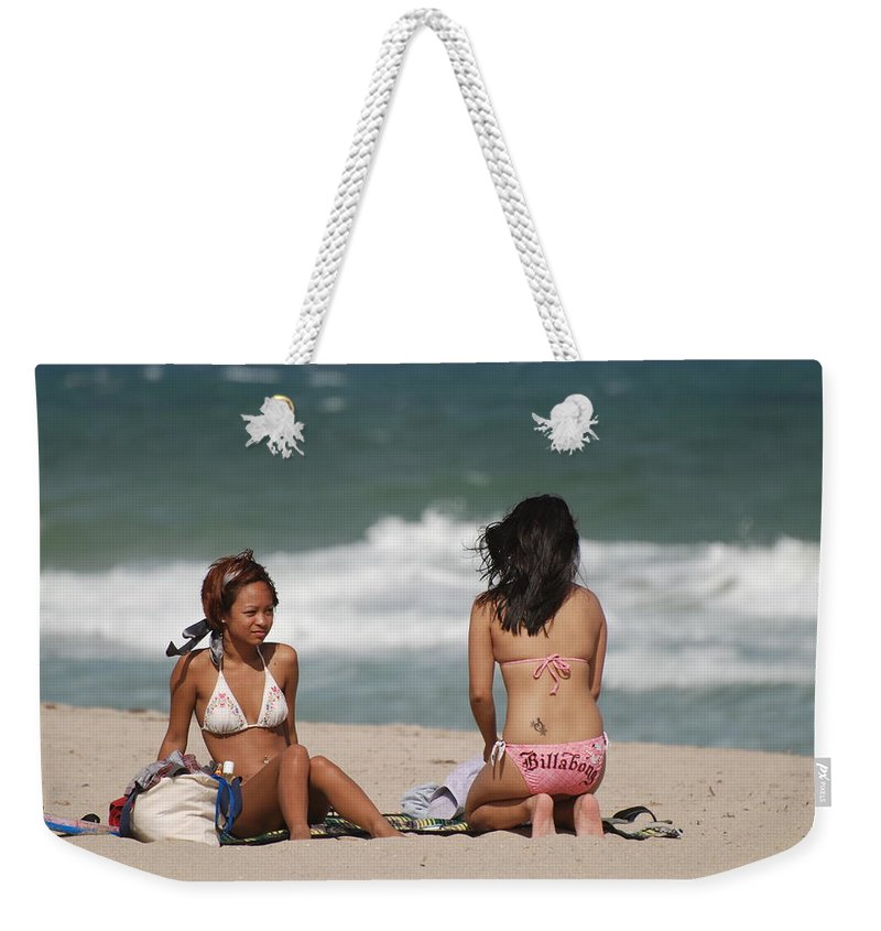 Sea Scape Weekender Tote Bag featuring the photograph Billabong Girls by Rob Hans