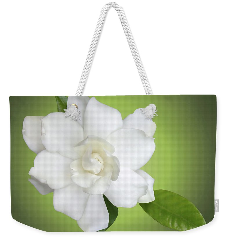 Gardenia Weekender Tote Bag featuring the photograph Billie's Flower by Kristin Elmquist