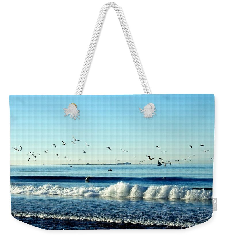 Seagulls Weekender Tote Bag featuring the photograph Billowing White Waves And Seagulls by Delores Malcomson