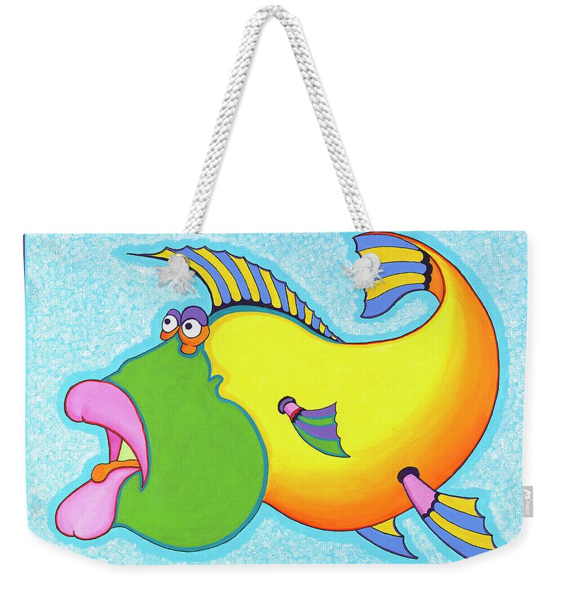 Fish Print Weekender Tote Bag featuring the painting Billy Bass by Ian Turner
