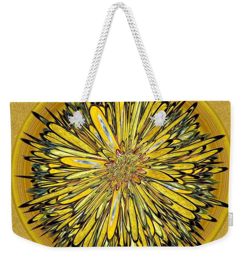 Abstract Weekender Tote Bag featuring the digital art Billy Jean -- Floral Disk by Mark Sellers