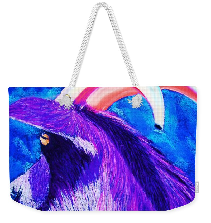 Goat Weekender Tote Bag featuring the pastel Billy The Kid by Melinda Etzold