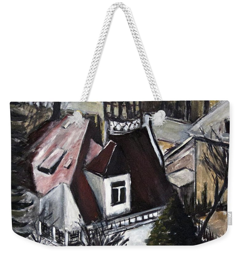 Landscape Weekender Tote Bag featuring the painting Bily Dum by Pablo de Choros