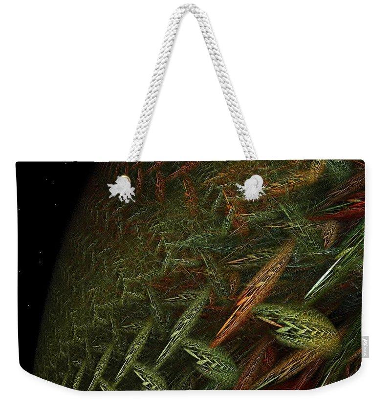 Planet Weekender Tote Bag featuring the digital art Biosphere Threatened by Doug Morgan