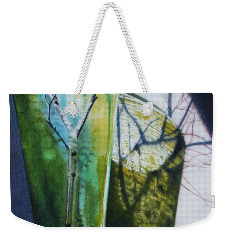 Vase Weekender Tote Bag featuring the painting Birch Branches by Denny Bond