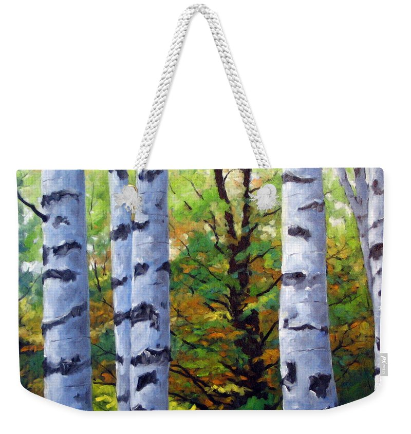 Art Weekender Tote Bag featuring the painting Birch Buddies by Richard T Pranke