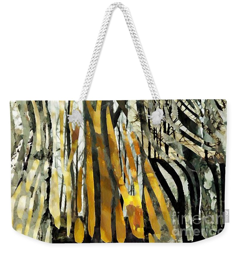 Birch Trees Weekender Tote Bag featuring the mixed media Birch Forest by Sarah Loft