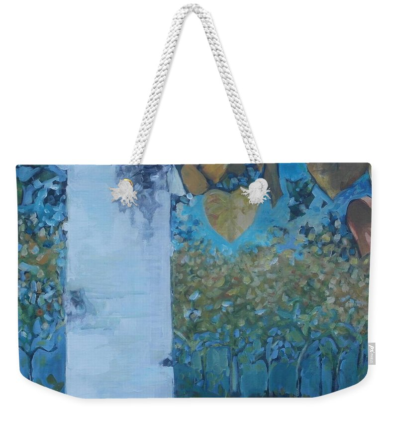 Birch Weekender Tote Bag featuring the painting bIrCh LanE by Cindy Collins