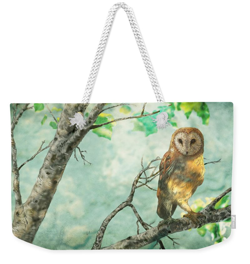 6158b41766 Owl Weekender Tote Bag featuring the digital art Birch Tree - Barn Owl by  Martin Denault