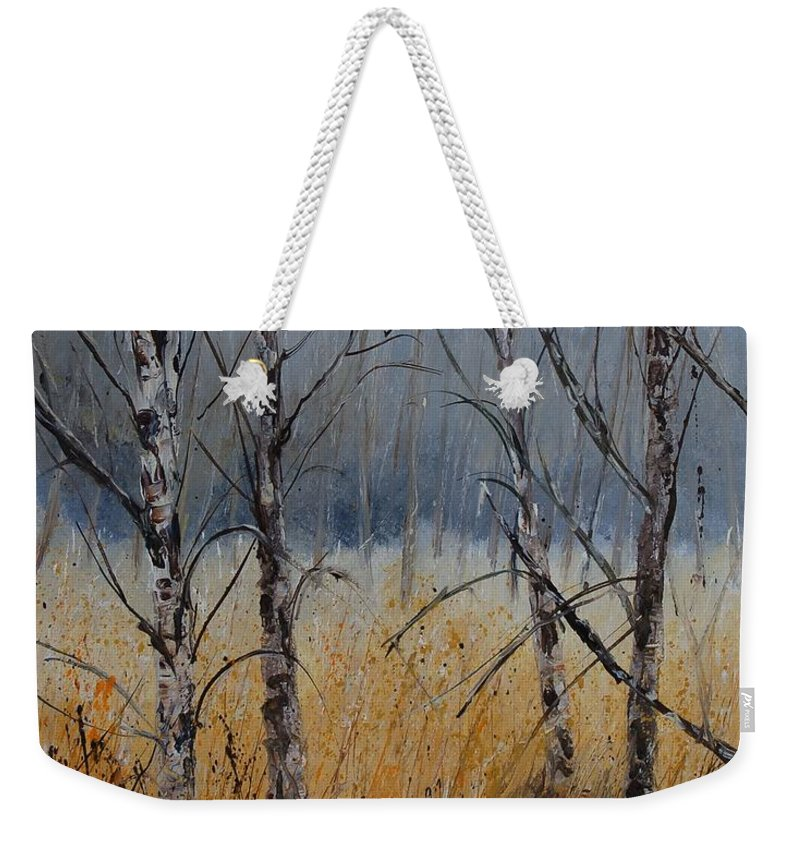 Winter Weekender Tote Bag featuring the painting Birch Trees by Pol Ledent