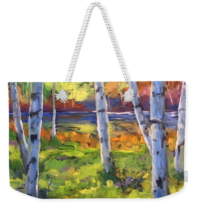 Art Weekender Tote Bag featuring the painting Birches 01 by Richard T Pranke