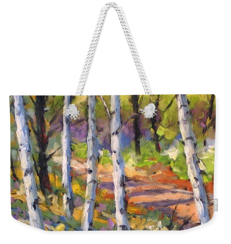 Art Weekender Tote Bag featuring the painting Birches 02 by Richard T Pranke