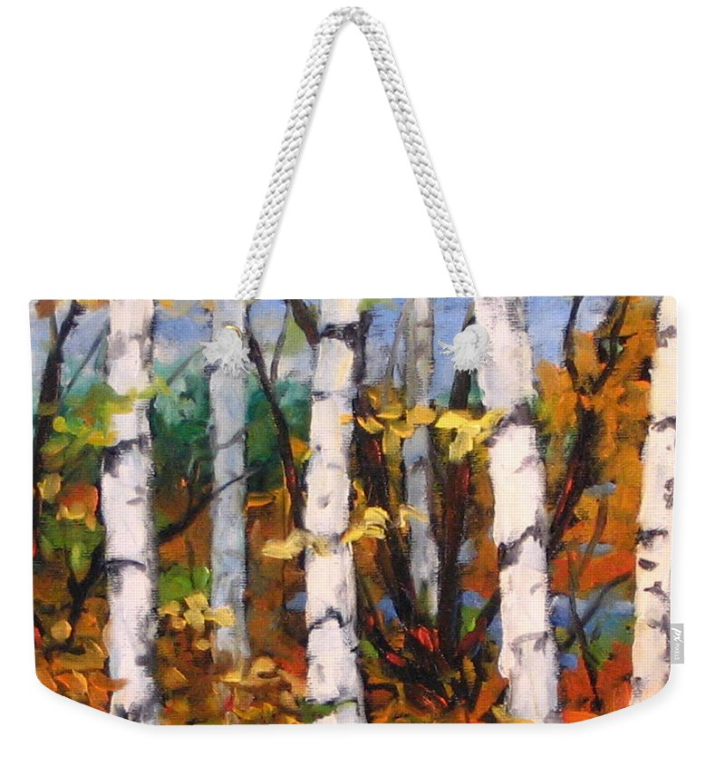 Art Weekender Tote Bag featuring the painting Birches 03 by Richard T Pranke