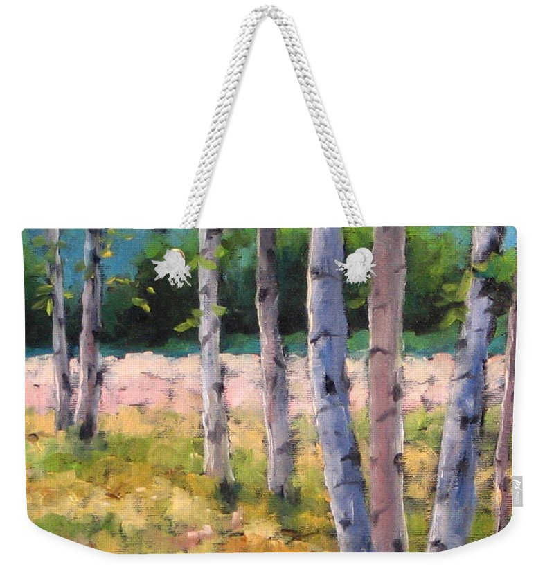 Art Weekender Tote Bag featuring the painting Birches 04 by Richard T Pranke