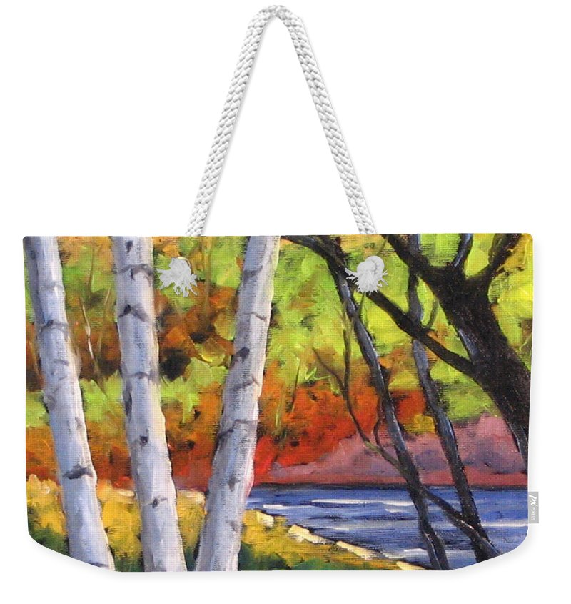 Art Weekender Tote Bag featuring the painting Birches 06 by Richard T Pranke