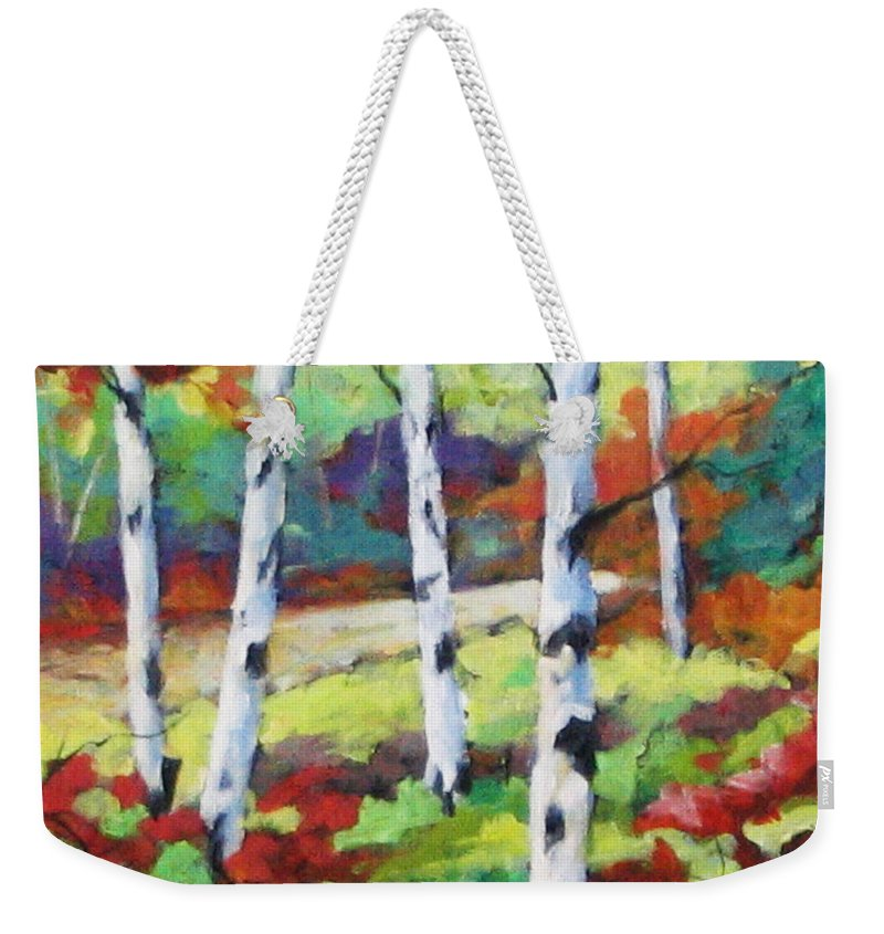 Art Weekender Tote Bag featuring the painting Birches 07 by Richard T Pranke