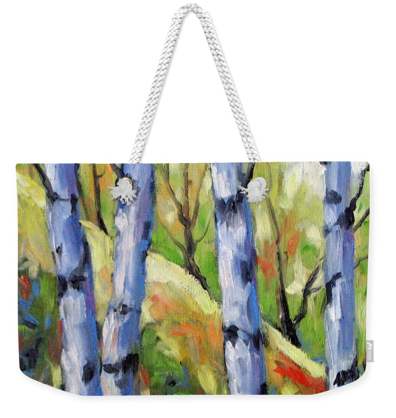 Art Weekender Tote Bag featuring the painting Birches 09 by Richard T Pranke