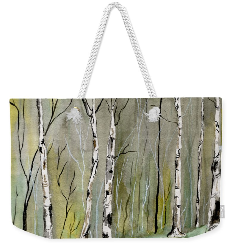 Landscape Weekender Tote Bag featuring the painting Birches Before Spring by Brenda Owen