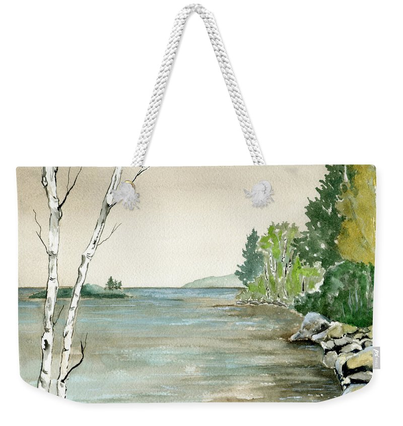 Landscape Watercolor Birches Trees Lake Pond Water Sky Rocks Weekender Tote Bag featuring the painting Birches By The Lake by Brenda Owen