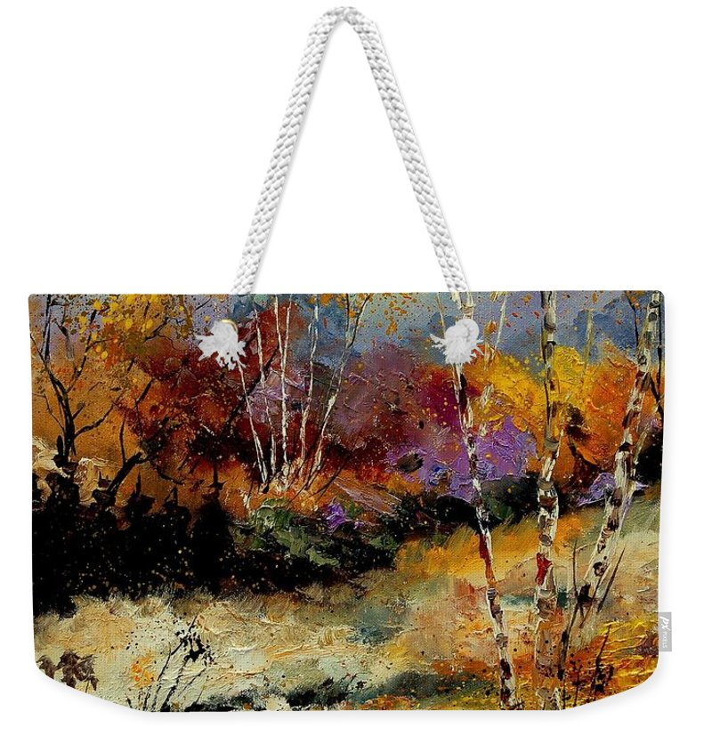 Tree Weekender Tote Bag featuring the painting Birchtrees 459090 by Pol Ledent