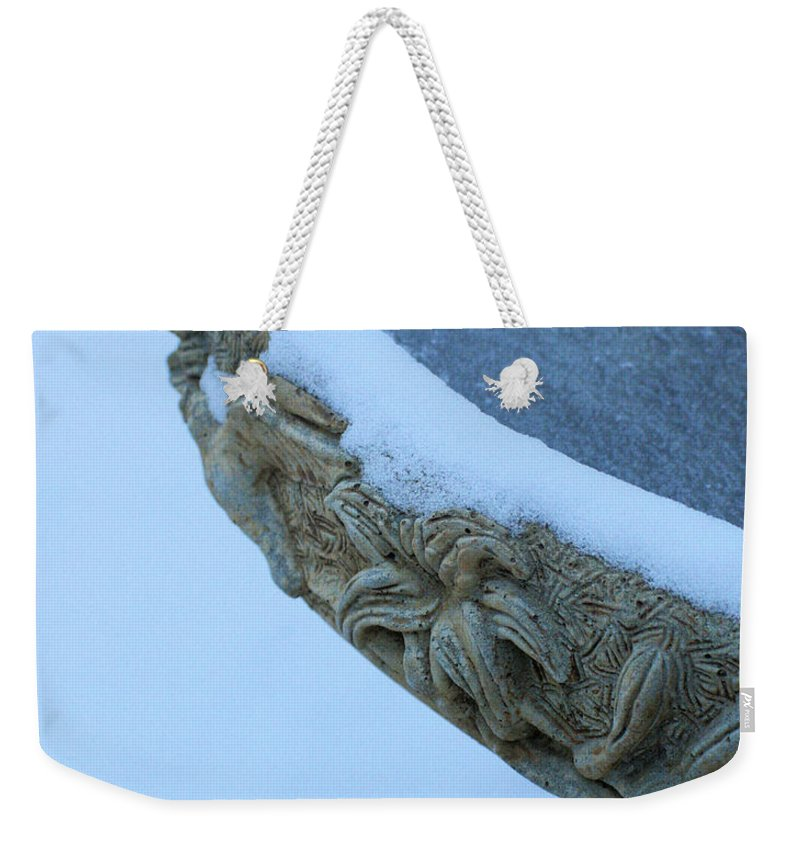 Holiday Weekender Tote Bag featuring the photograph Bird Bath In The Snow by Traditionally Unique Photography