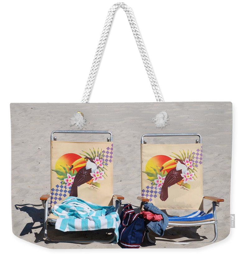 Chairs Weekender Tote Bag featuring the photograph Bird Chairs by Rob Hans