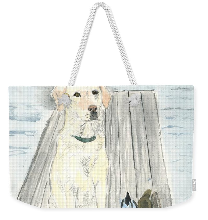 Daisy Weekender Tote Bag featuring the painting Bird Dog by Sara Stevenson