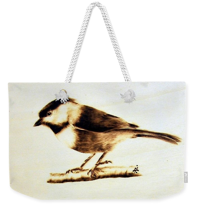 Wood Weekender Tote Bag featuring the pyrography Bird by Ilaria Andreucci