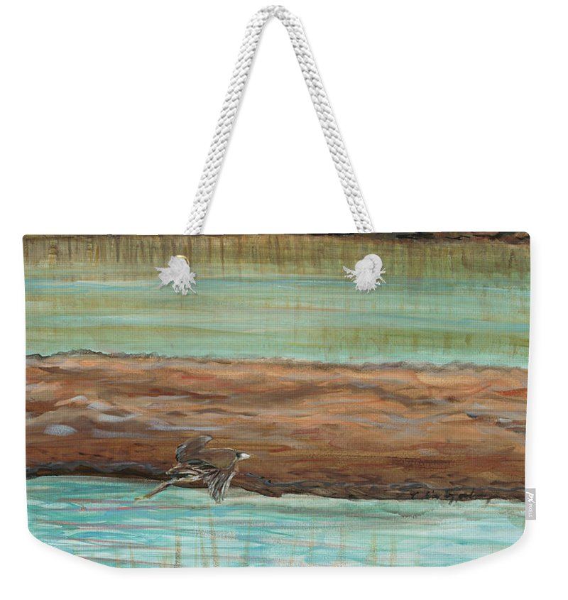 Bird Weekender Tote Bag featuring the painting Bird in Flight by Nadine Rippelmeyer