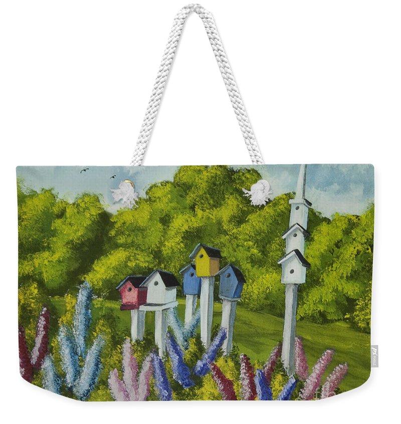 Birdhouses Weekender Tote Bag featuring the painting Bird Metropolis by Charlotte Blanchard